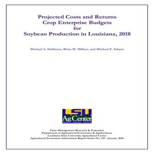 2018 Soybean Enterprise Budgets